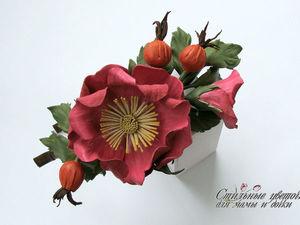 """Создаем ободок из кожи """"Дикая роза"""". Ярмарка Мастеров - ручная работа, handmade."""