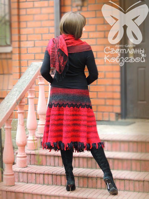 тёплая юбка, ручная вязка