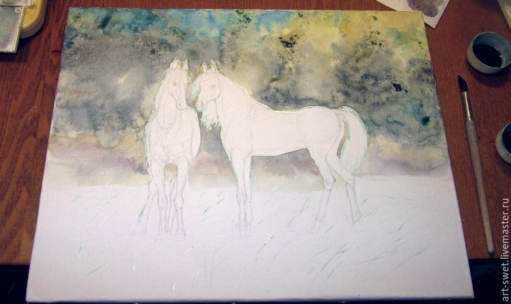 Как рисовать лошадок акварелью, фото № 6