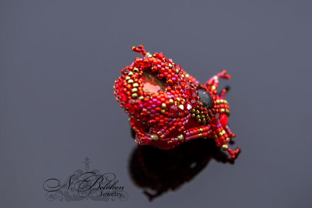 Огненный аммолитовый жучок колечко, фото № 7