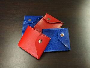 Красный и синий кошелек из натуральной кожи. Ярмарка Мастеров - ручная работа, handmade.
