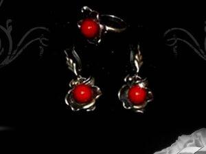 """Серьги и кольцо из натуральных камней — комплект """"Цветок"""". Ярмарка Мастеров - ручная работа, handmade."""