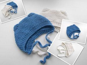 Видео мастер-класс: вяжем шапочку с ушками для новорожденного малыша. Ярмарка Мастеров - ручная работа, handmade.