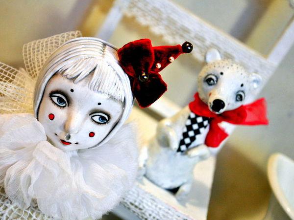 Стилизованная подвижная кукла из паперклея   Ярмарка Мастеров - ручная работа, handmade