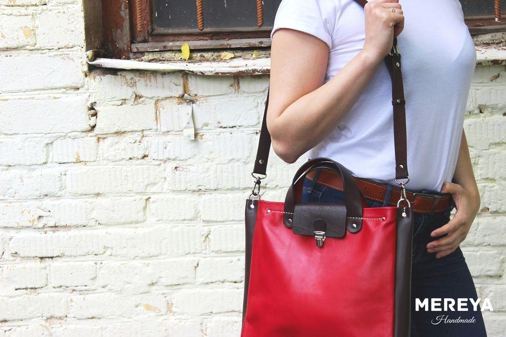 сумка из красной кожи, сумка кожаная, сумка на каждый день, сумка из телячей кожи