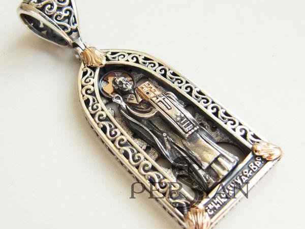 Образок  св. Николай Чудотворец.Серебро,золото | Ярмарка Мастеров - ручная работа, handmade