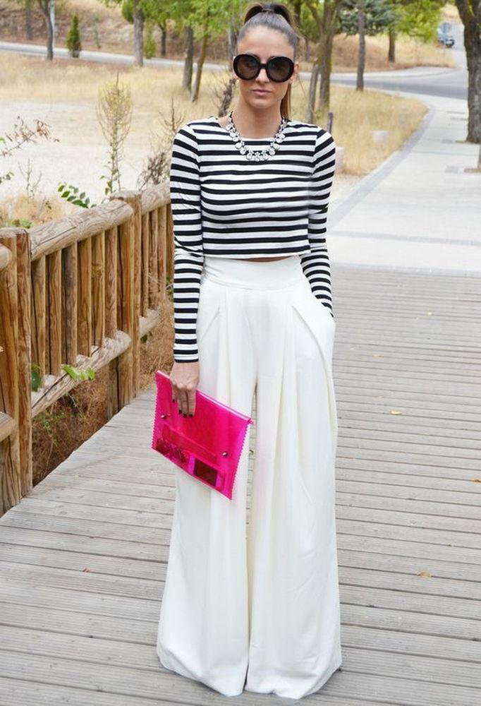 белые широкие брюки, мода
