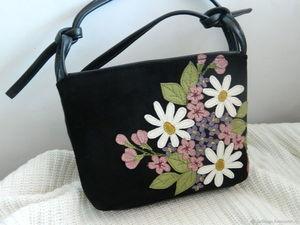 Аукцион с 0 на кожаную сумочку Весенний сад черная. Ярмарка Мастеров - ручная работа, handmade.