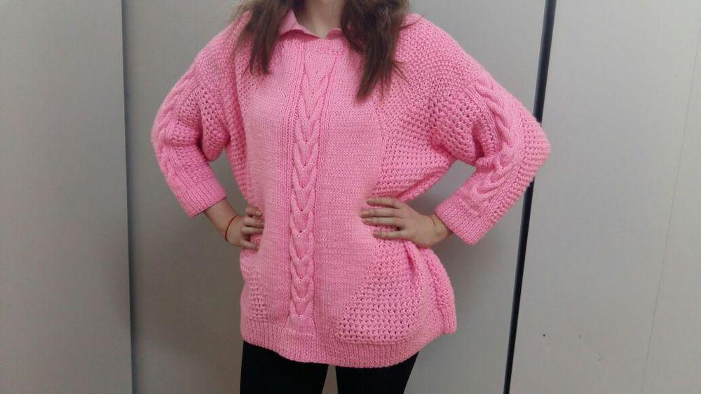 оверсайз, универсальный, розовый, свитер вязаный, гранж, вязание, девушкам, в наличии