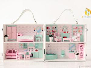 Домик чемодан с мебелью для кукол. Ярмарка Мастеров - ручная работа, handmade.