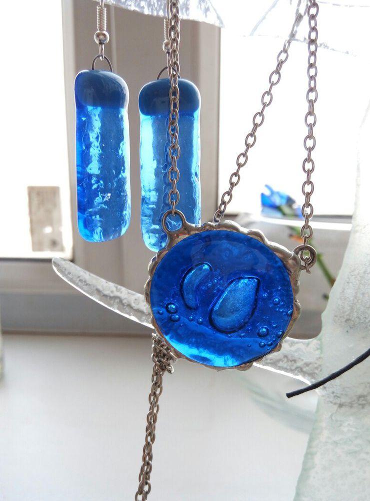 акция магазина, серьги в подарок, синий цвет, синий кулон, кулон из стекла, цветное стекло, синий комплект, самара, украшения из стекла, тиффани, фьюзинг