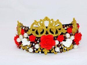 Видеопрезентация красно-золотой короны в стиле Дольче Габбана. Ярмарка Мастеров - ручная работа, handmade.