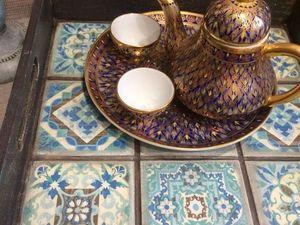 Поднос с имитацией керамической плитки. Ярмарка Мастеров - ручная работа, handmade.
