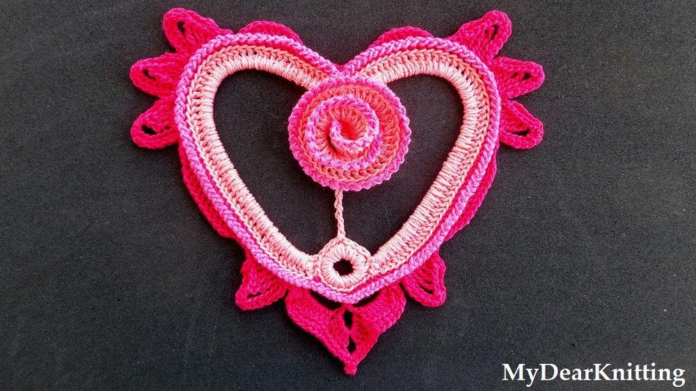 сердечко, сердечко крючком, роза, цветок, цветок крючком, розочка крючком, подарок, идея, розовый, обвязка крючком