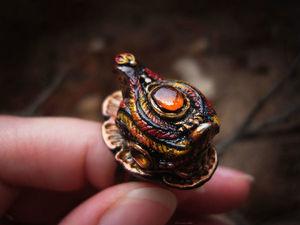 Аукцион на кольцо с курочкой и янтарём. Ярмарка Мастеров - ручная работа, handmade.