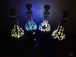 Они светятся!!!!!! Эксклюзивные бутылки-светильники на новогодний стол. Ярмарка Мастеров - ручная работа, handmade.