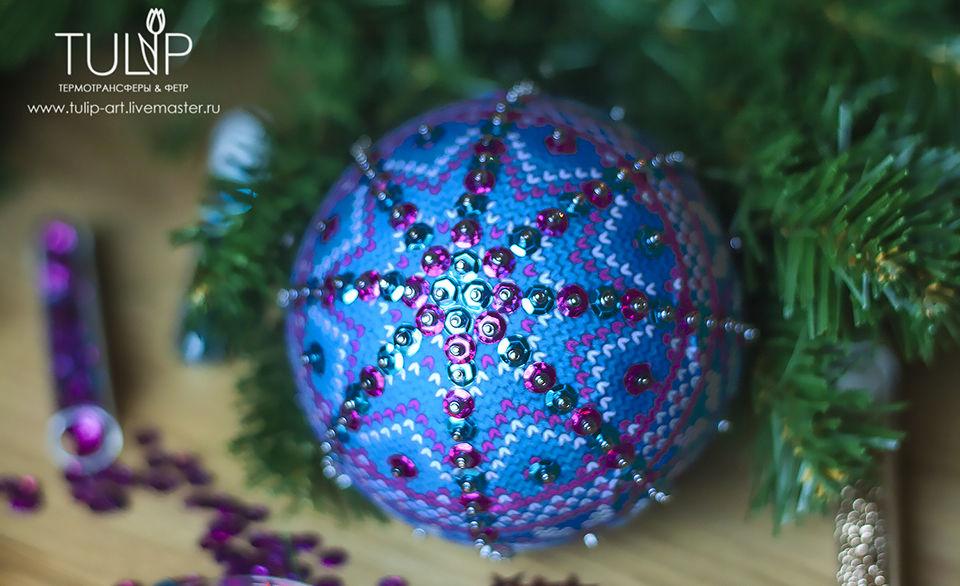Декорируем елочные шары тканью, пайетками и бисером, фото № 1