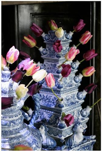 Delft tulipiere at Chatsworth! These are simply stunning and can create a beautiful display on any table or setting