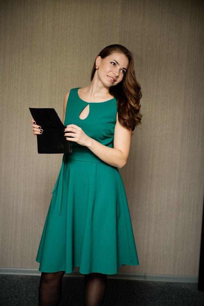 платье мини, платье зеленое