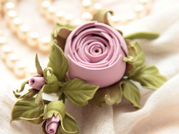 Новый Мк!!! Брошь Веточка розы