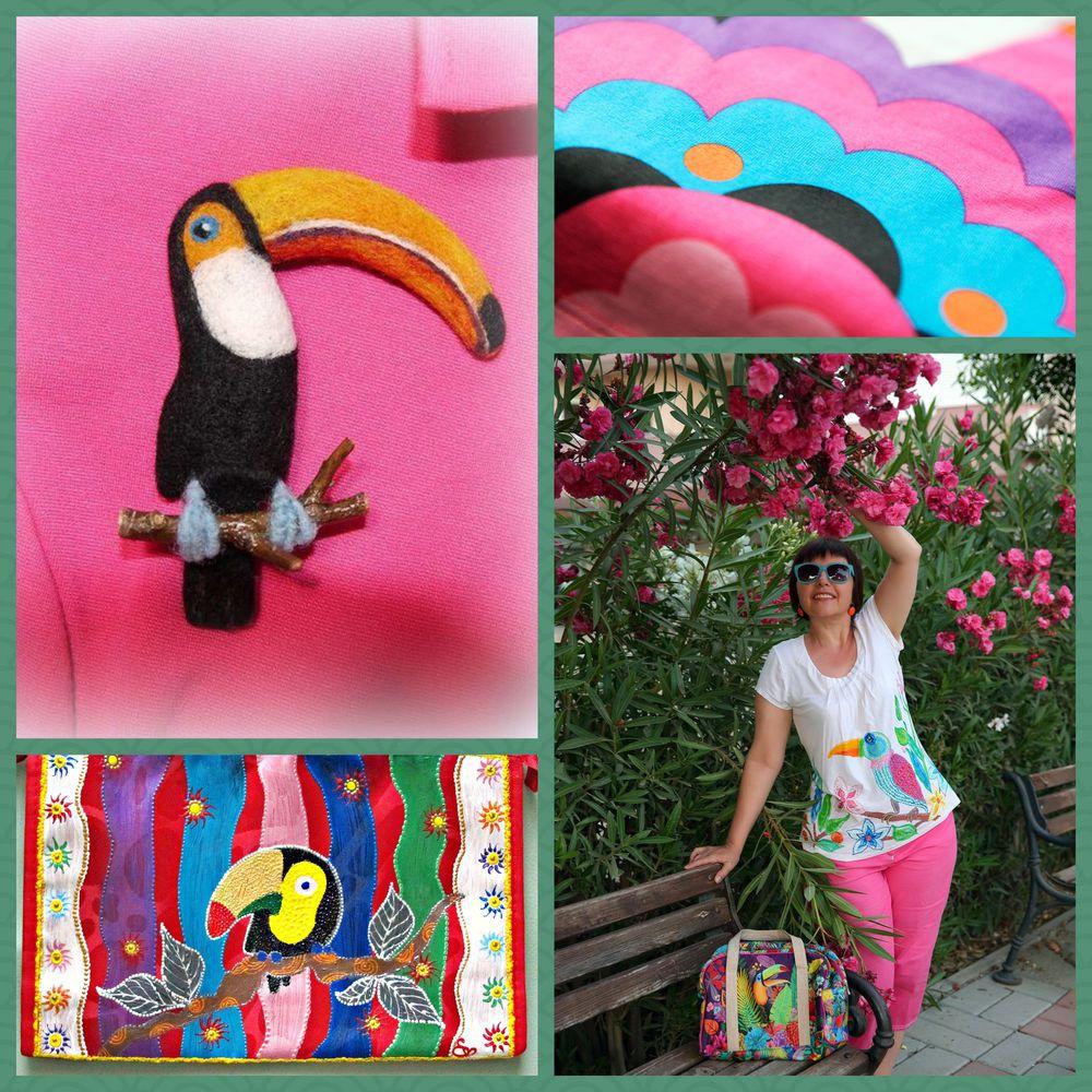 модное лето, летний лук, летние вещи, летнее платье, тукан, тукан на футболке, роспись фламинго