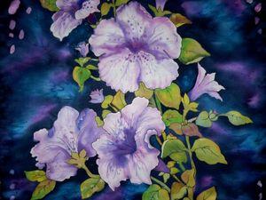 Цветы в Ночи для Галины,(платок)натуральный шёлк, Атлас 68-68 См.батик. Ярмарка Мастеров - ручная работа, handmade.