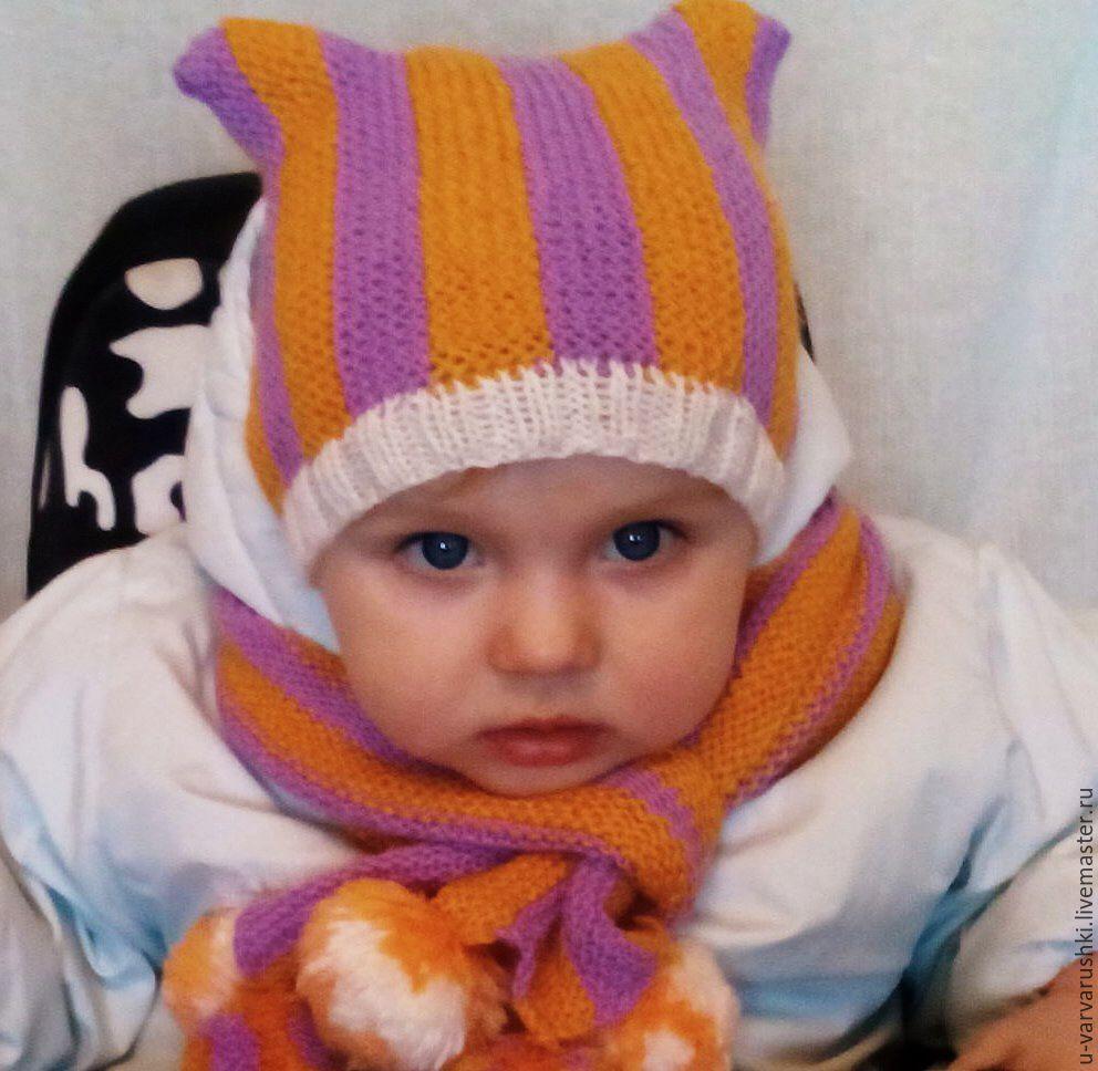 шапочка для мальчика, вязание на спицах