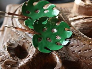 История создания сережек «Монстера». Ярмарка Мастеров - ручная работа, handmade.