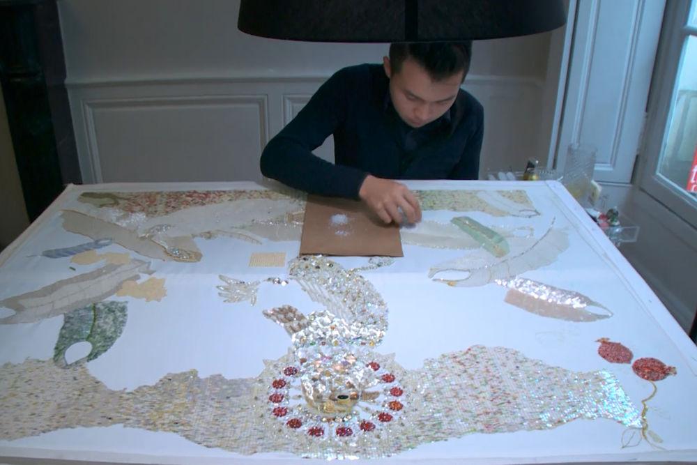 Создание панно с петухом от вышивальщика Chengyen Lee