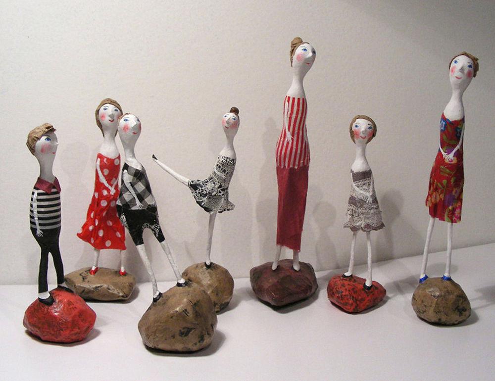 папье-маше, камни, бумагопластика, проект, кукольная миниатюра, куклы, маленькая кукла, как сделать, проволока