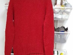Описание красного пуловера. Ярмарка Мастеров - ручная работа, handmade.