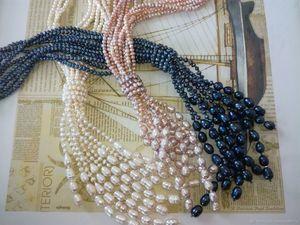 """Скидка 25% Колье — галстук """"Три реки"""" из натурального жемчуга. Ярмарка Мастеров - ручная работа, handmade."""