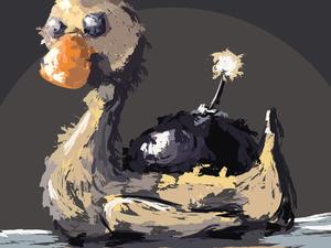 """День 39. Диджитал. Векторная работа по мотивам масляного этюда """"Бумбот"""". Ярмарка Мастеров - ручная работа, handmade."""