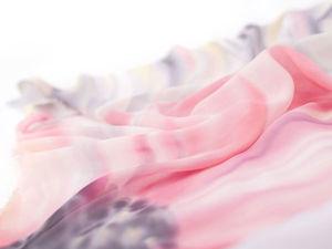 """""""Розовый цветок"""" — нежный шейный платочек. Ярмарка Мастеров - ручная работа, handmade."""