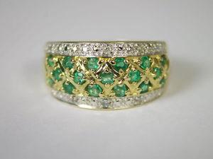 Кольцо с изумрудами и бриллиантами из желтого золота 585   Ярмарка Мастеров - ручная работа, handmade
