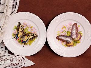 Новинка нашей студии! Роспись фарфора «Декоративные тарелки Бабочки» | Ярмарка Мастеров - ручная работа, handmade