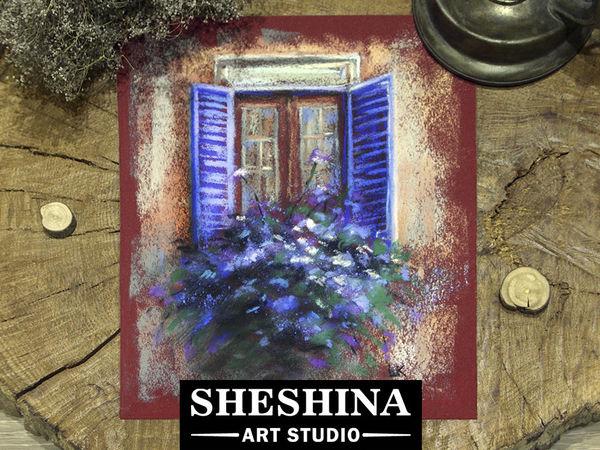 Видеоурок: рисуем сухой пастелью окно с цветочным кашпо | Ярмарка Мастеров - ручная работа, handmade