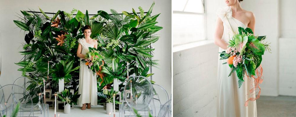 тропическая свадьба, украшение цветами зала