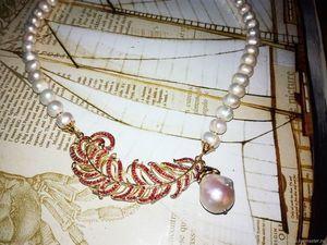 """Скидка 20% на жемчужное ожерелье """"""""Волшебное перышко"""". Ярмарка Мастеров - ручная работа, handmade."""