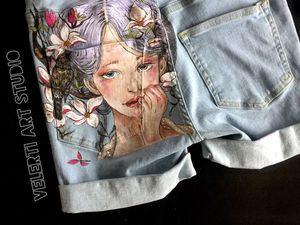 Аукцион на Джинсовые Шорты для девочки с Росписью, размер 40-42. Ярмарка Мастеров - ручная работа, handmade.