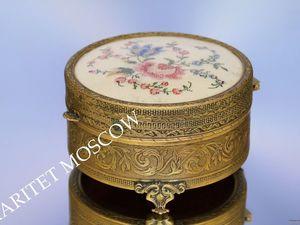 Шкатулка антикварная вышивка латунь бронза 22. Ярмарка Мастеров - ручная работа, handmade.