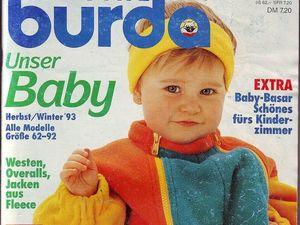 """Burda Special """"Unser Baby"""", Осень-зима 1993 г. Содержание. Ярмарка Мастеров - ручная работа, handmade."""