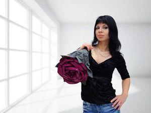 розыгрыш, роза из кожи, сумочка