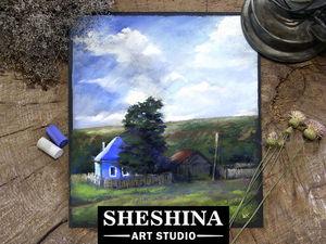 Видеоурок: рисуем пейзаж с деревенским домиком.. Ярмарка Мастеров - ручная работа, handmade.