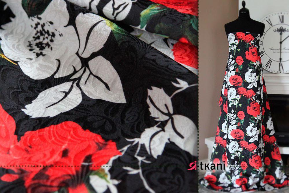 жаккард, фактурные розы, ткань для платья