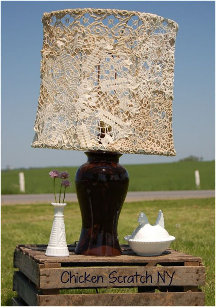 Doily Covered Lampshade