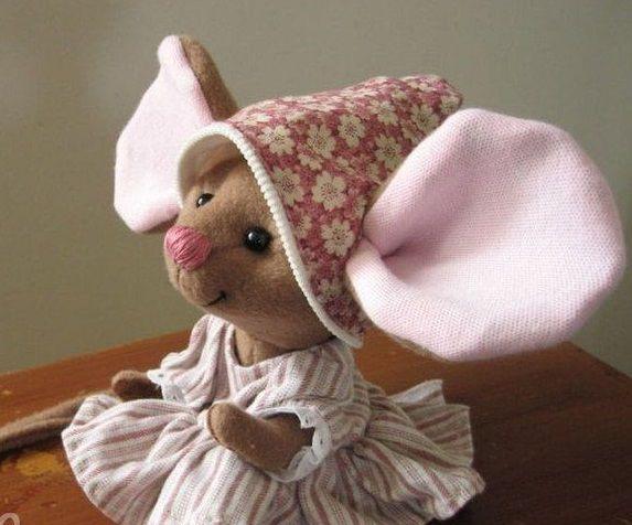 мышь, выкройка мыши, авторская работа, шитьё, ушастик