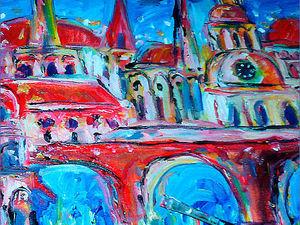 Город. Красный мост. Диптих. Пейзаж. Масляная живопись. Ярмарка Мастеров - ручная работа, handmade.
