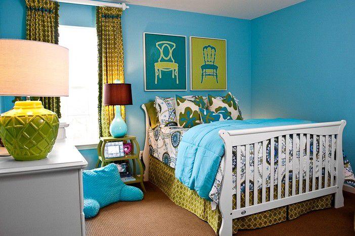 голубой цвет, цвет в интерьере, декор