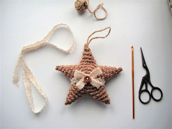 Crocheted Christmas Toys: A One Hour Guide on Making a Jute Star   Livemaster - handmade